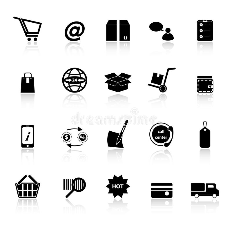 Download Ecommerce Icons With Reflect On White Background Stock Illustration - Image: 38032888