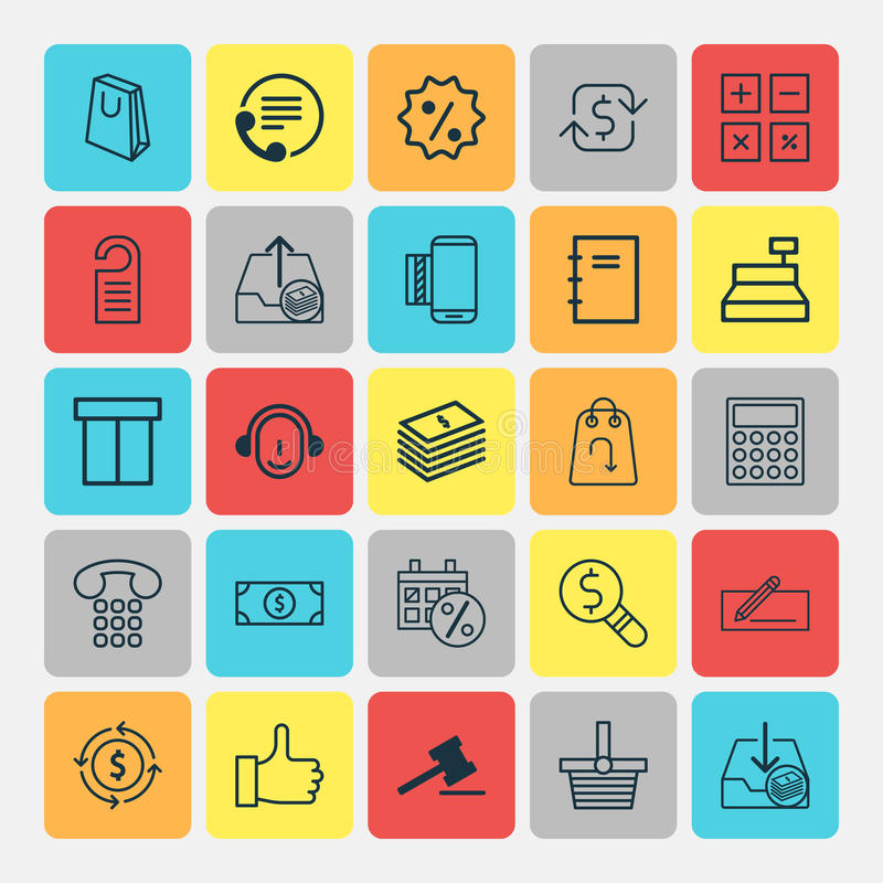 Ecommerce Icons Set. Collection Of Recommended, Recurring Payements, Gavel And Other Elements. Also Includes Symbols. Ecommerce Icons Set. Collection Of royalty free illustration