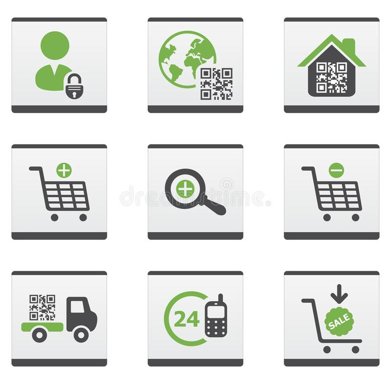 Ecommerce icons set. Green and dark grey ecommerce icons set royalty free illustration