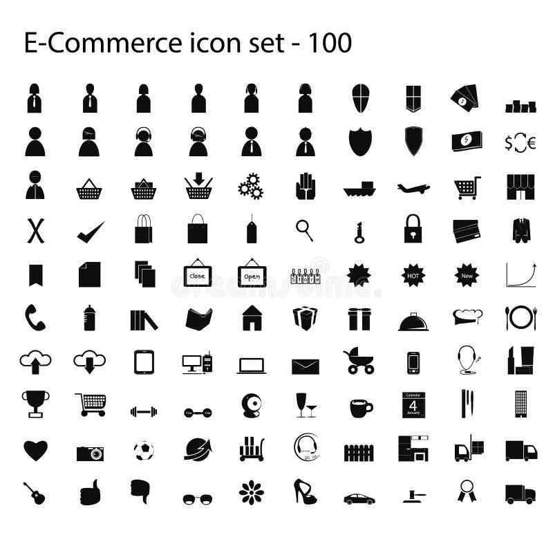 Download 100 Ecommerce Ikon Ustawiających Wektor Ilustracja Wektor - Obraz: 32025784