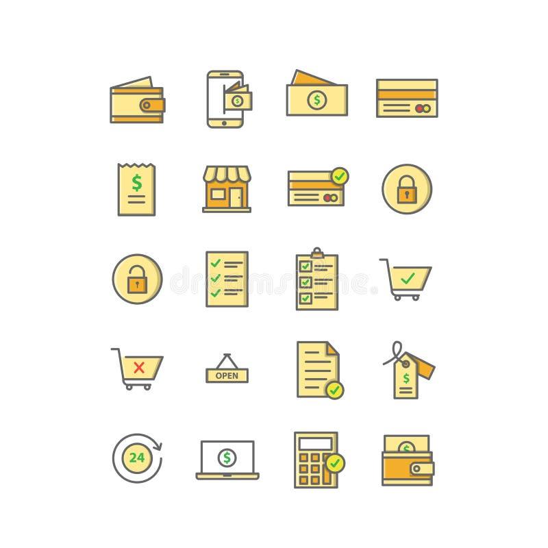 Ecommerce ikony set Wypełniający Kreskowy wektor ilustracji