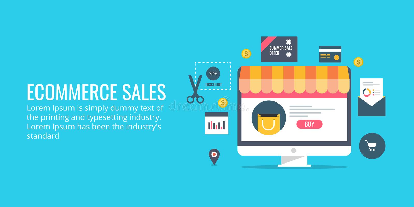 Ecommerce sales - online transaction - product selling. Flat design vector concept. royalty free illustration