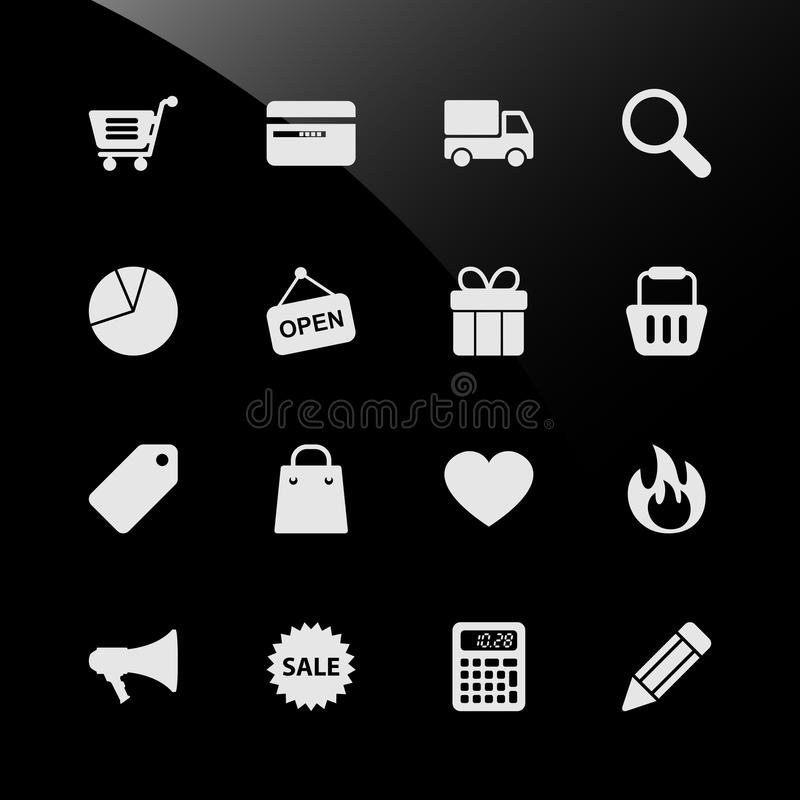 Ecommerce Shopping Web Icons. A set of ecommerce icon with shopping cart, credit card, delivery, search, statistic, gift, basket, tag, calculator and many more royalty free illustration