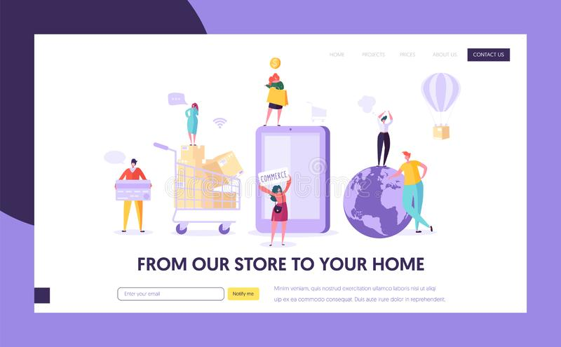 Ecommerce Store Global Shopping Landing Page. Woman Shop Online Using Smartphone. E-commerce Retail, Sale Concept. Online Order Delivery for Website or Web stock illustration