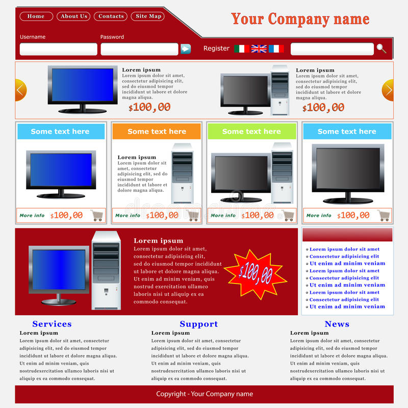 Download Ecommerce Website Template stock image. Image of company - 19278945