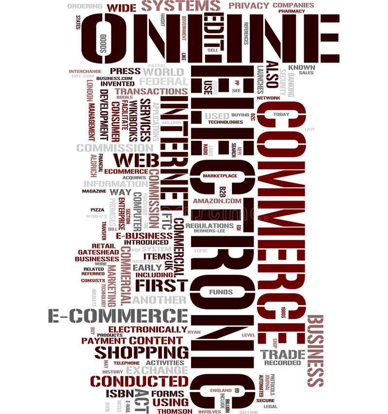 Ecommerce word cloud. Email word cloud on white background, gorgeous tag clouds for your design royalty free illustration