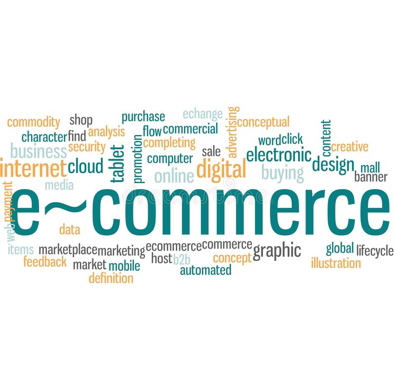 Ecommerce word cloud. Illustration of word cloud tags related to Ecommerce concept royalty free illustration