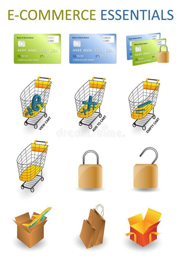 ecommerceessentials royaltyfri illustrationer