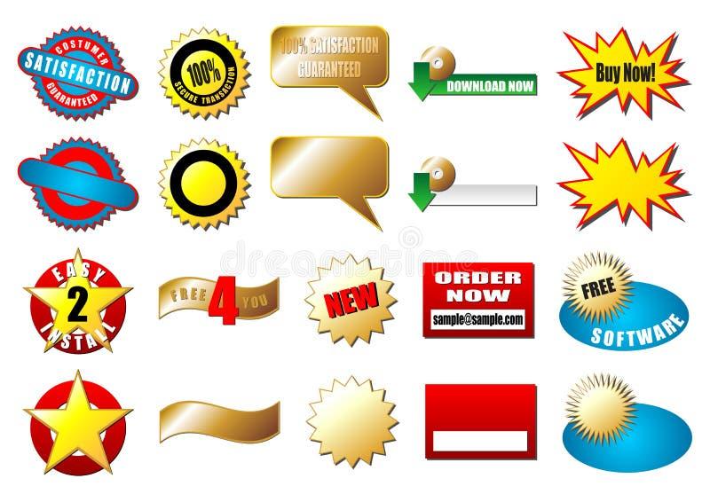 ecommerceetiketter royaltyfri illustrationer