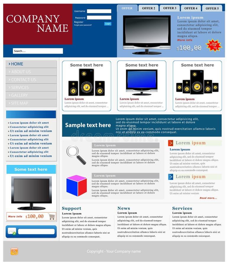 EcommerceWebsitemall vektor illustrationer