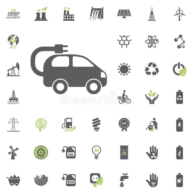 Ecomobile symbol Uppsättning för Eco och för alternativ energi vektorsymbol Vektor för uppsättning för resurs för makt för elektr royaltyfri illustrationer