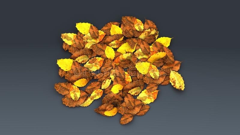 Ecomposed leaves. Fallen leaves will gradually decompose where they land, eventually contributing slightly to the structure and moisture retention capacity of vector illustration