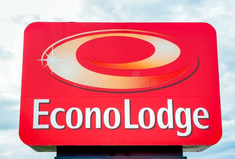 Econo-Häuschen-Außenschild und Logo stockfoto