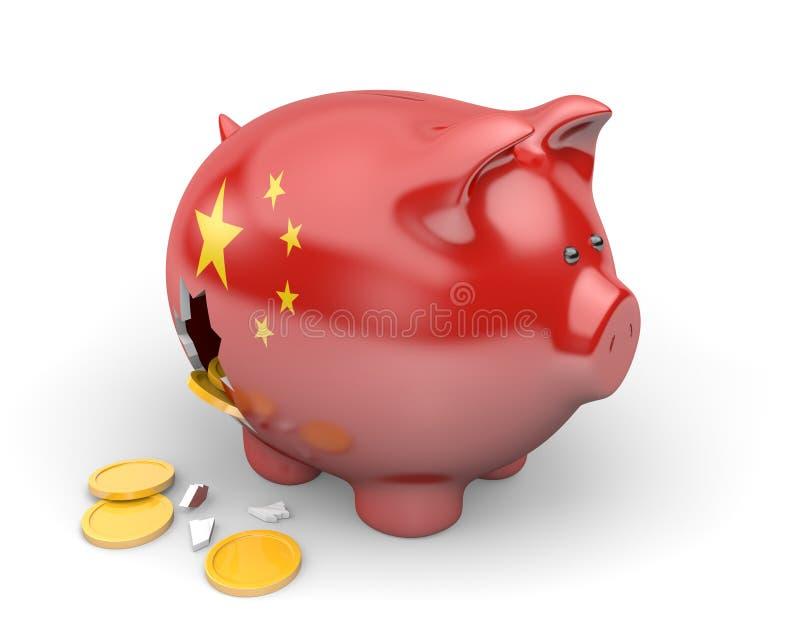 Economía de China y concepto de las finanzas para la crisis del desempleo y de la deuda nacional ilustración del vector
