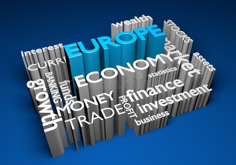 Economía de Europa e inversiones comerciales para el crecimiento del GDP, representación 3D ilustración del vector