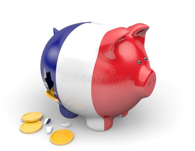 Economía de Francia y concepto de las finanzas para la crisis del desempleo y de la deuda nacional stock de ilustración