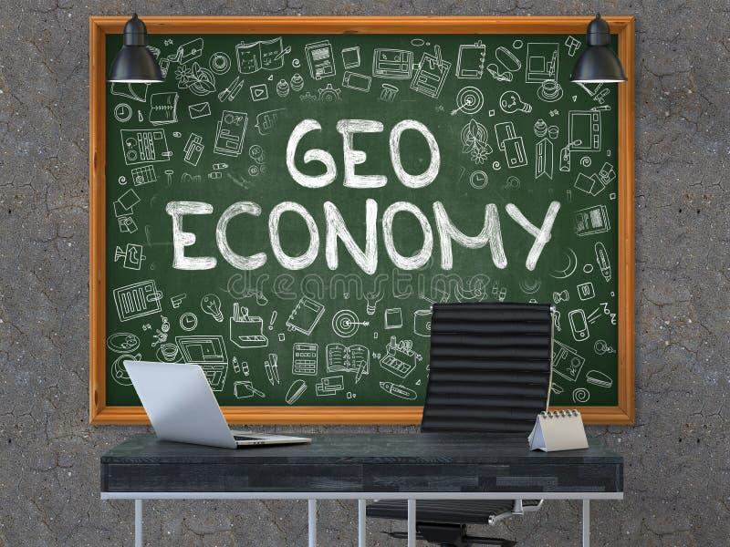 Economía de Geo - mano dibujada en la pizarra verde 3d stock de ilustración