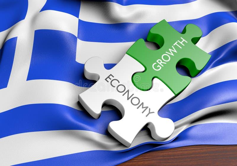 Economía de Grecia y concepto del crecimiento del mercado financiero stock de ilustración
