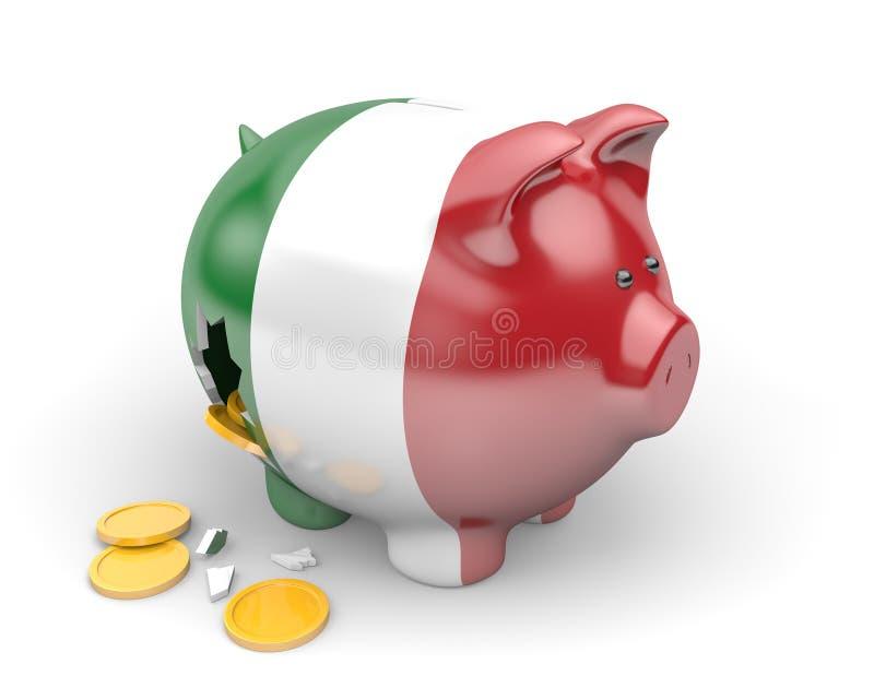 Economía de Italia y concepto de las finanzas para la crisis del desempleo y de la deuda nacional stock de ilustración