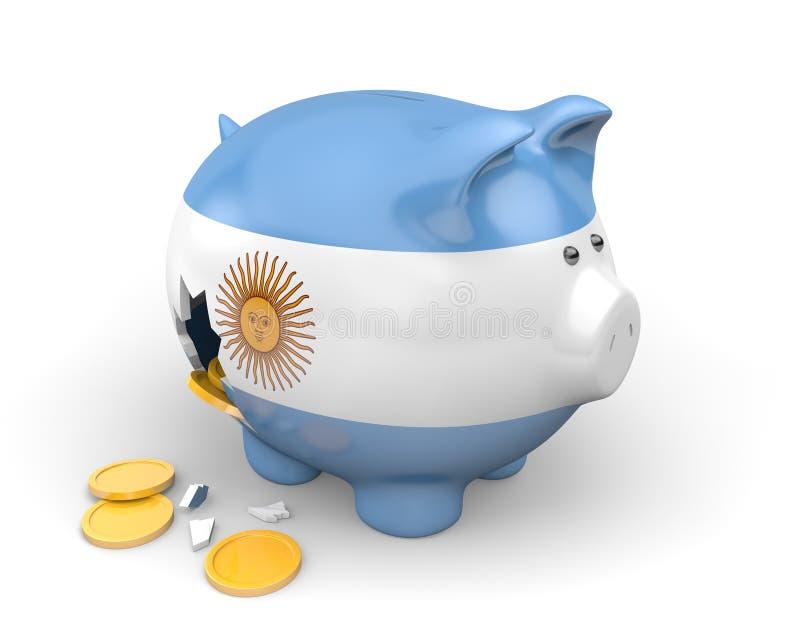 Economía de la Argentina y concepto de las finanzas para la pobreza y la deuda nacional ilustración del vector