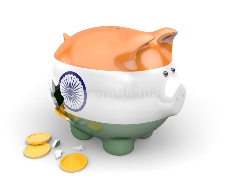 Economía de la India y concepto de las finanzas para el desempleo, la pobreza, y la deuda nacional fotografía de archivo libre de regalías