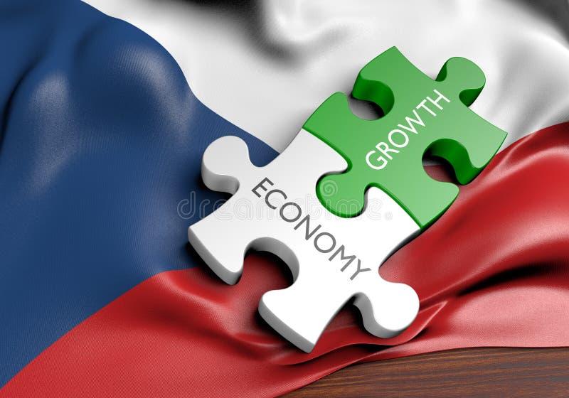 Economía de la República Checa y concepto del crecimiento del mercado financiero ilustración del vector
