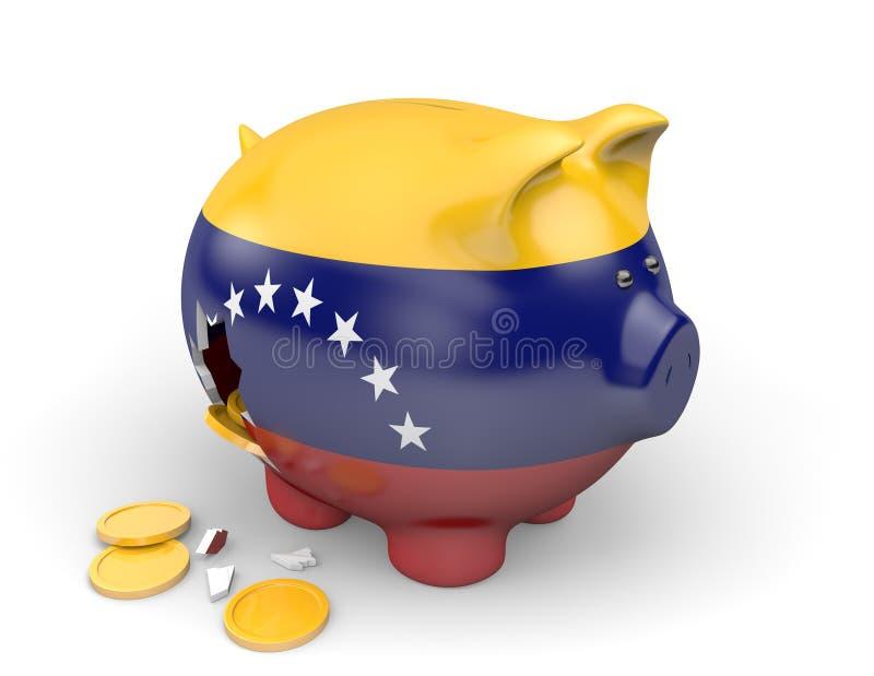Economía de Venezuela y concepto de las finanzas para la pobreza y la deuda nacional ilustración del vector
