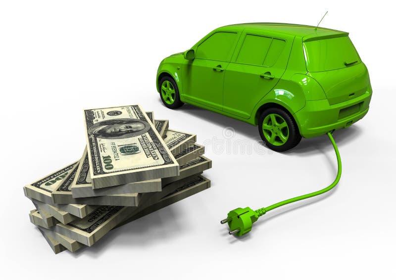 Economía del coche eléctrico ilustración del vector