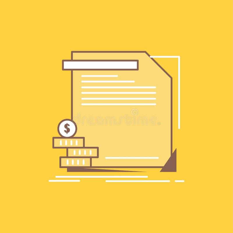economía, finanzas, dinero, información, línea plana icono llenado de los informes r ilustración del vector