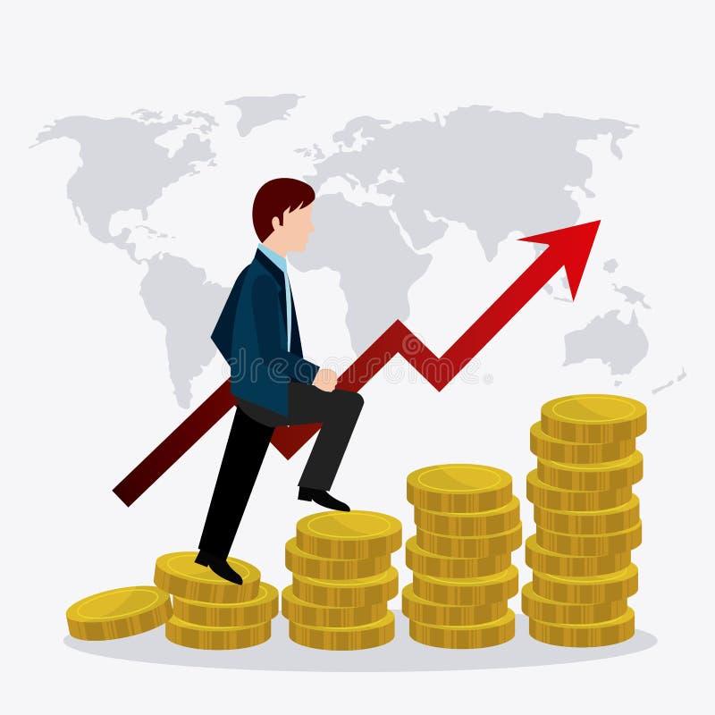 Economía global, dinero y negocio stock de ilustración