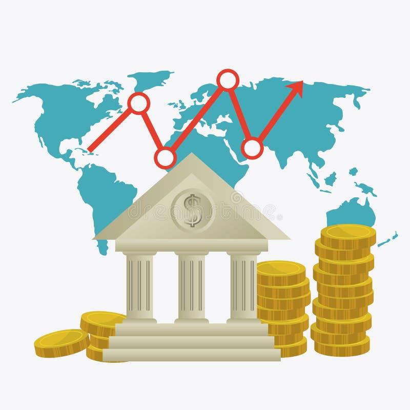 Economía global, dinero y negocio ilustración del vector