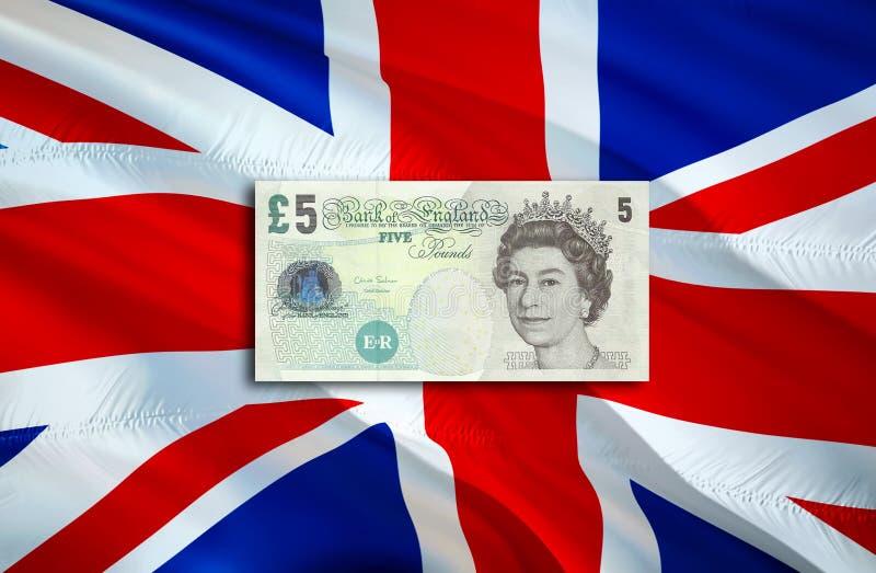 Economia BRITÂNICA da libra para o negócio e a ilustração financeira das ideias do conceito, fundo Conceito com libra BRITÂNICA d fotografia de stock