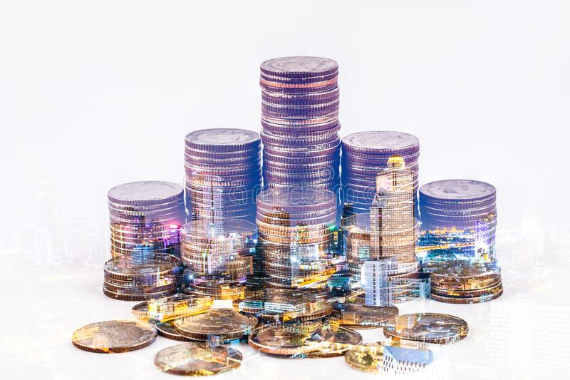 Economia, conceito do dinheiro do investimento imagens de stock