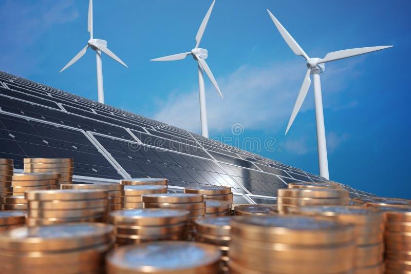 Economia da energia alternativa Dinheiro na frente dos painéis solares e dos turbunes do vento 3D rendeu a ilustração ilustração stock