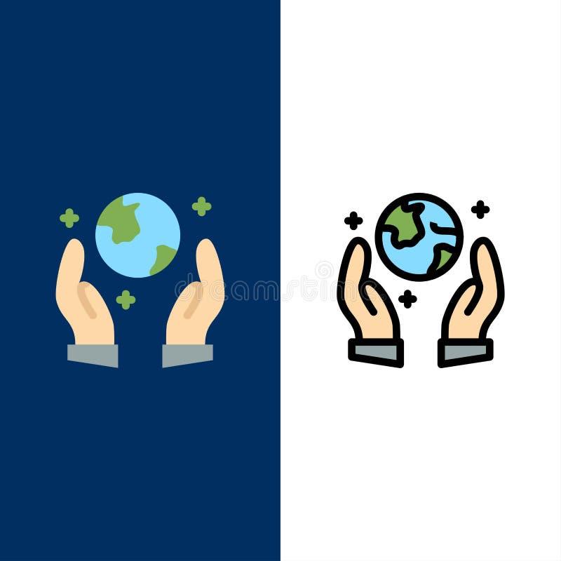 Economia da terra, proteção de Eco, ícones de Guarder O plano e a linha ícone enchido ajustaram o fundo azul do vetor ilustração do vetor