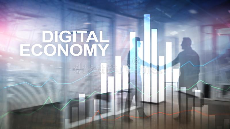 Economia de Digitas, conceito financeiro da tecnologia no fundo borrado foto de stock royalty free