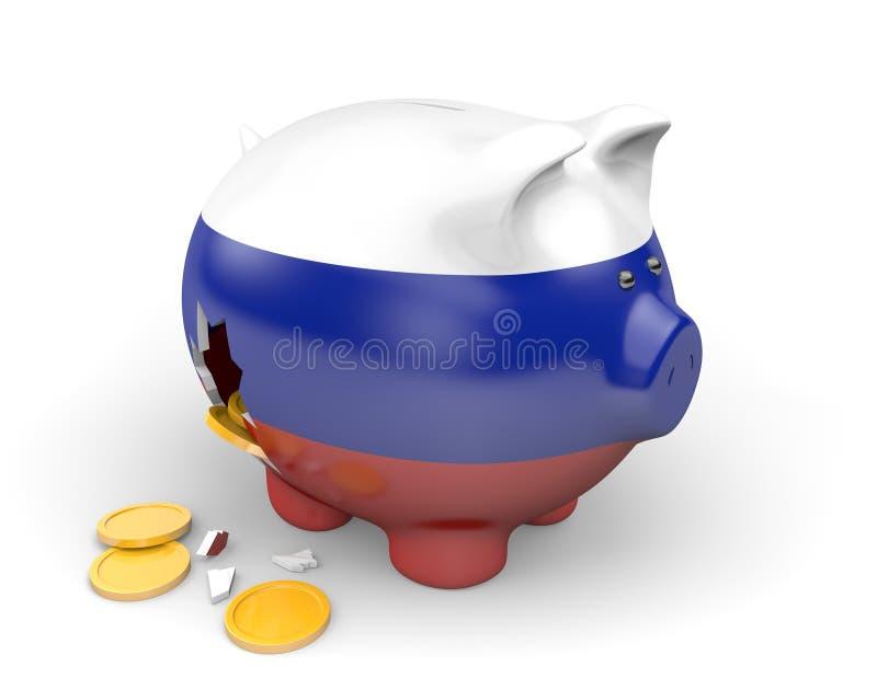 Economia de Rússia e conceito da finança para a crise do GDP e da dívida pública ilustração stock