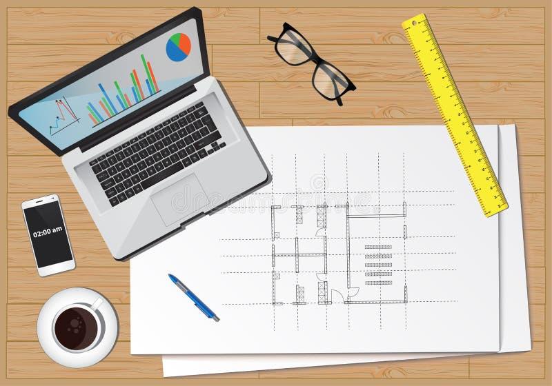 Economia di affari dell'attrezzatura della scrivania royalty illustrazione gratis