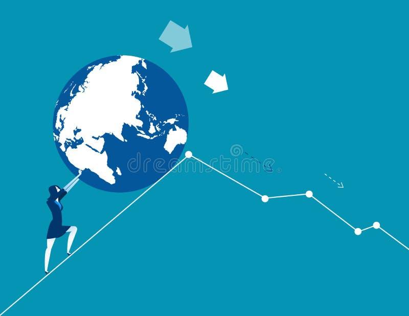 Economia do mundo na diminui??o Ilustra??o do vetor do neg?cio do conceito ilustração stock