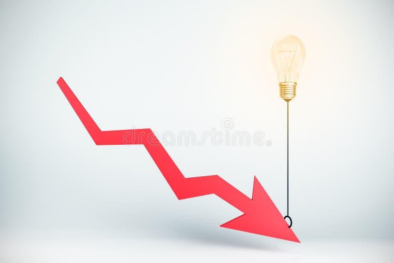 Economia e concetto di diminuzione illustrazione di stock