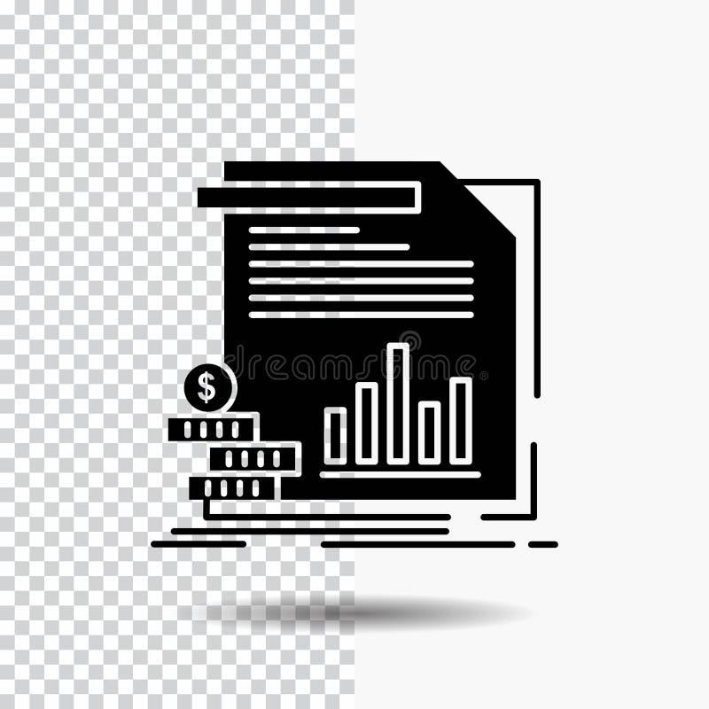 economia, finança, dinheiro, informação, ícone do Glyph dos relatórios no fundo transparente ?cone preto ilustração stock