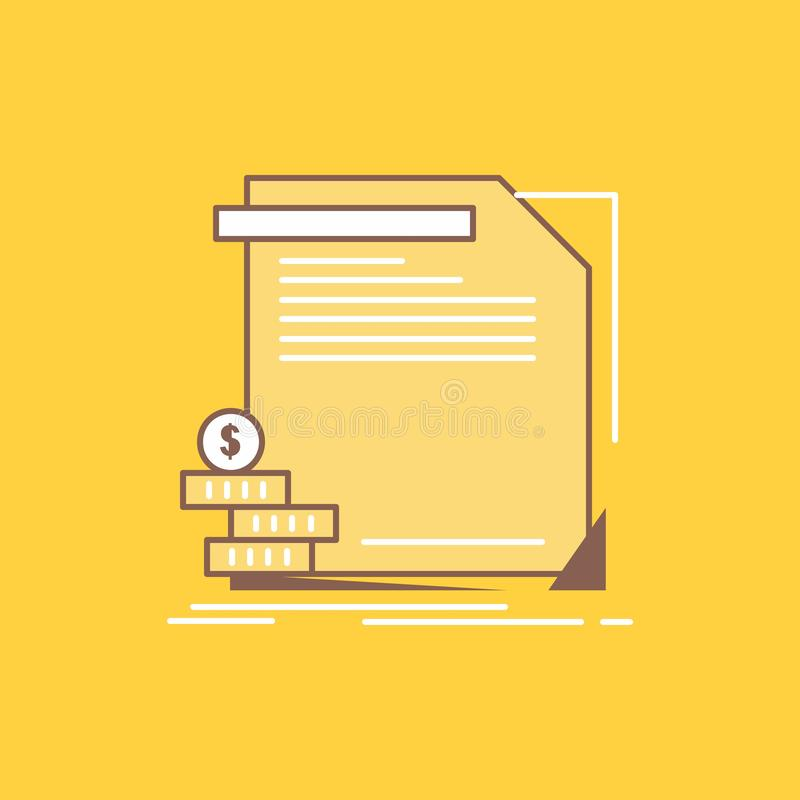 economia, finança, dinheiro, informação, linha lisa ícone enchido dos relatórios Bot?o bonito do logotipo sobre o fundo amarelo p ilustração do vetor