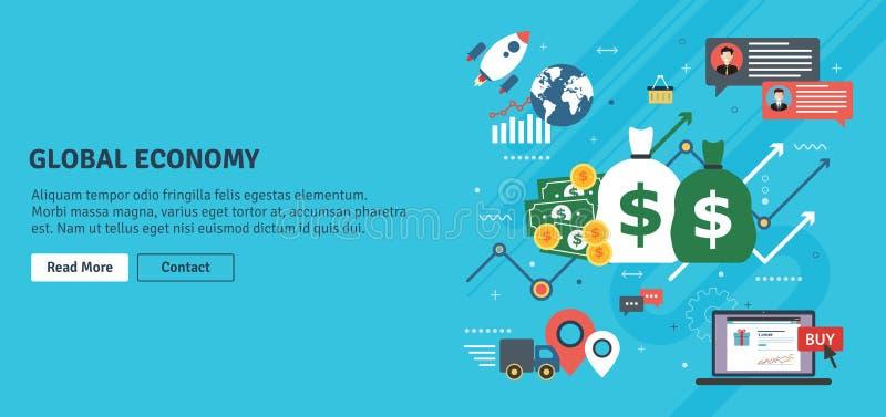 Economia global, carta de negócio e sucesso do comércio ilustração stock