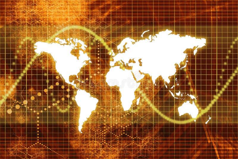 Economia mundial alaranjada do mercado de valores de acção ilustração royalty free