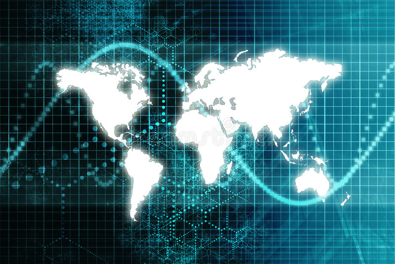 Economia mundial azul do mercado de valores de acção ilustração royalty free