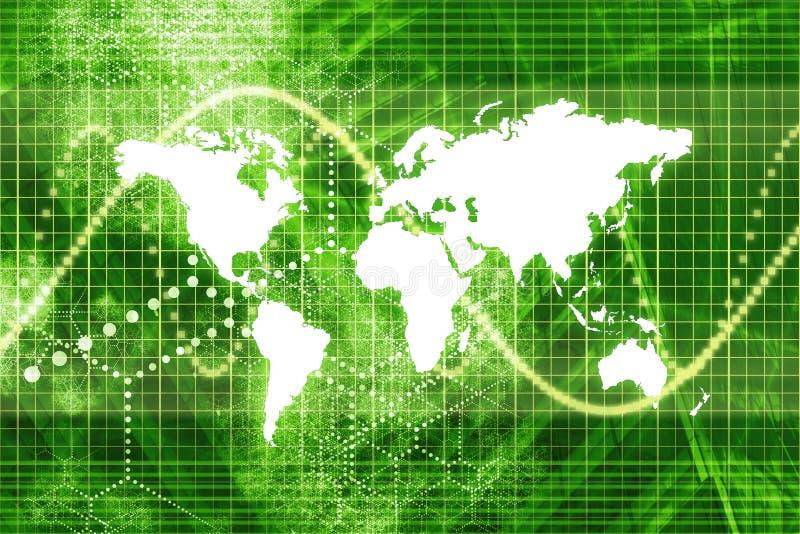 Economia mundial verde do mercado de valores de acção ilustração stock
