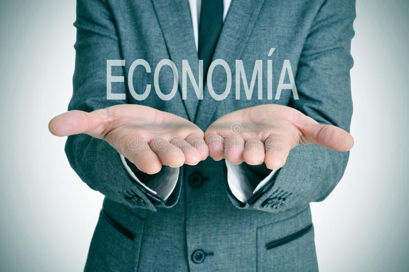 Economia, Wirtschaft auf spanisch lizenzfreie stockfotografie