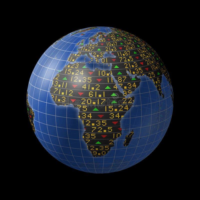Economias africanas em relógios do mercado de valores de acção no globo ilustração royalty free