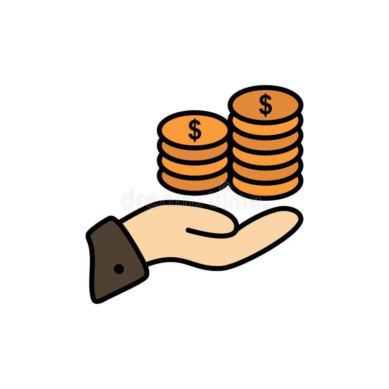 Economias, cuidado, moeda, economia, finança, Guarder, dinheiro, ícone liso da cor das economias Molde da bandeira do ícone do ve ilustração do vetor