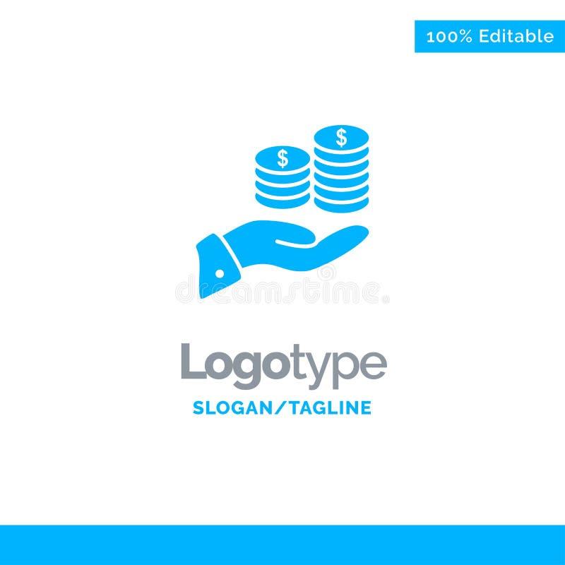 Economias, cuidado, moeda, economia, finança, Guarder, dinheiro, economias Logo Template contínuo azul Lugar para o Tagline ilustração royalty free